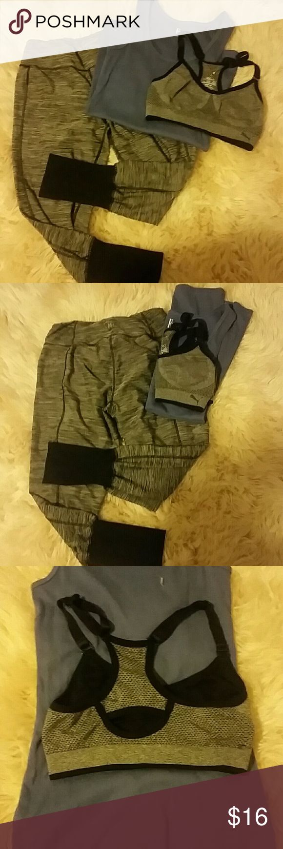3 pc yoga pant puma sports bra lot Includes 3 pieces  Size small gray/blk kyodan fitted yoga legging Size medium purple felina ribbed tank Size small gray/blk puma sports bra   Tank never worn. Inside label of sports bra worn off (has spots for pads does not include pads) leggings are in good condition.   Check out my other lots! Kyodan Pants Track Pants & Joggers