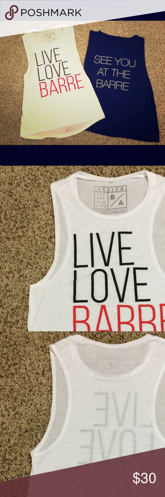 Bundle of 2 Barre muscle tank tops, size M Bundle of (2) barre tank tops, muscle fit, super soft material! Both for $30 total or $16 each. Barre Apparel Tops Tank Tops