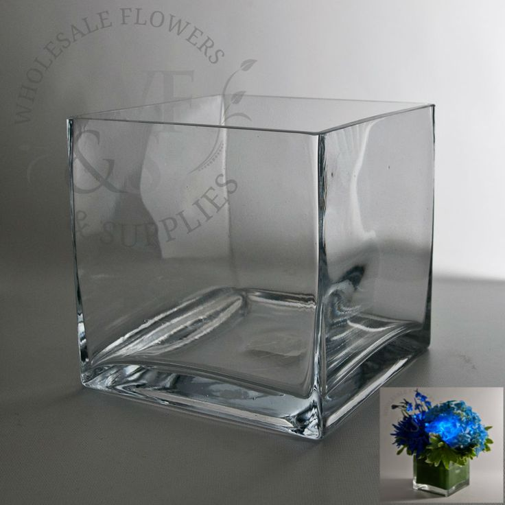 """6"""" Square Glass Cube Vase, discount, wholesale vases and containers - Wholesale Flowers and Supplies $5.50 each"""