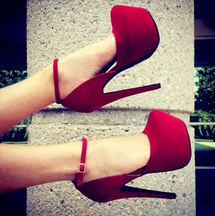 Glaring Red Suede Thick Platform Stiletto Heel High Heel Shoes #Heel2016  #RedHeel
