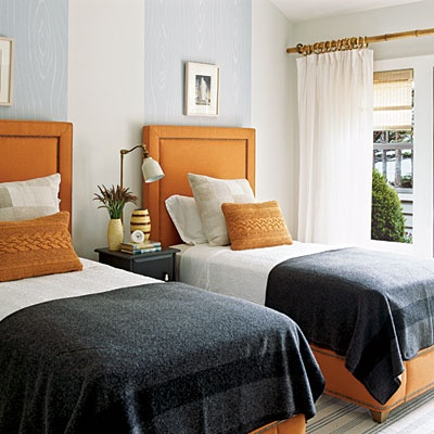 guest room with orange gray soft place to land pinterest. Black Bedroom Furniture Sets. Home Design Ideas