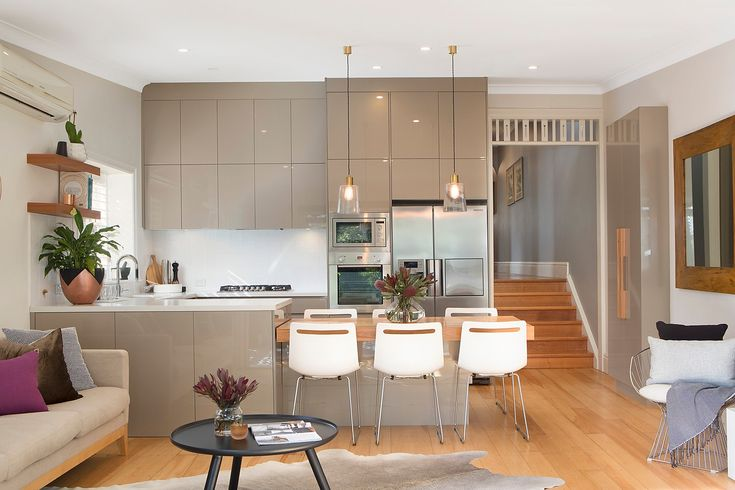 Casesarstone gas kitchen, Ilve appliances, Dining zone with custom built in table for 6 people, dining table with electronic height adjustment, classic home with designer interiors, 16 Mayes Street, Annandale, Pilcher Residential