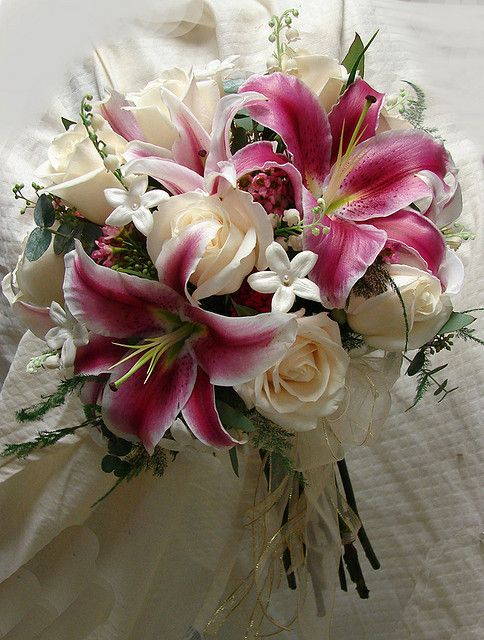 Rose and Stargazer Bouquet with Stephanotis (little white flowers)