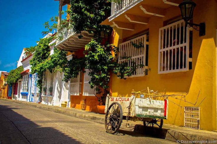 Beautiful colorful street in Cartagena, Colombia