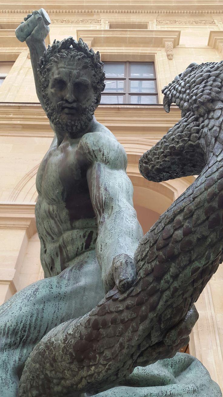 Hercules Fighting Achelous (by François Joseph Bosio), Louvre Museum, Paris, France.