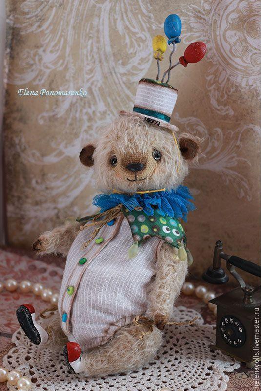 Купить Клоун Жоржик. - бежевый, бирюзовый, молочный цвет, клоуны, клоун, мишка тедди