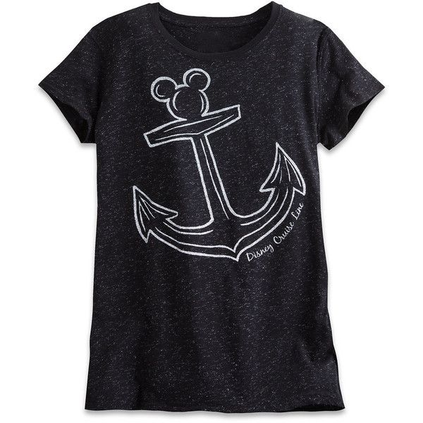 Mickey Mouse Icon Anchor Metallic Tee for Women Disney Cruise Line... ($22) ❤ liked on Polyvore featuring tops, t-shirts, disney tees, shimmer tops, glitter t shirt, anchor top and metallic tee
