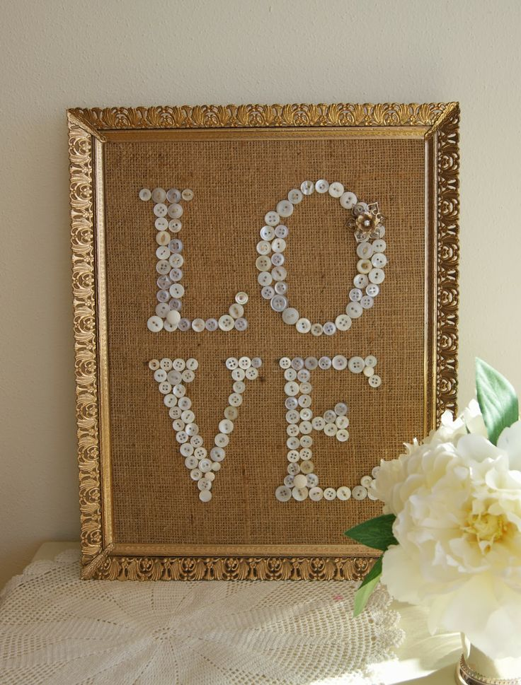 The Life of a Craft Crazed Mom: Love Burlap Button Art