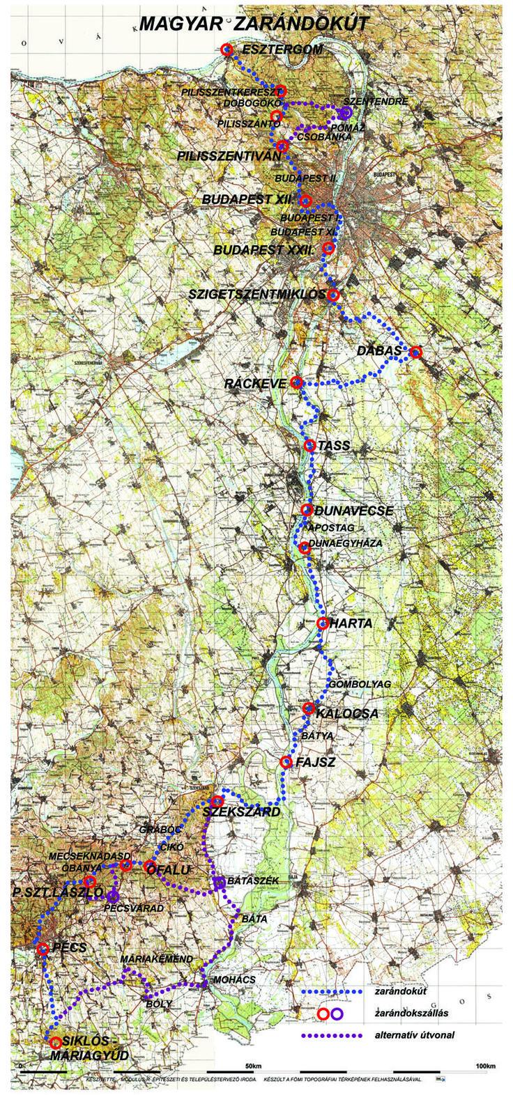 Magyar Zarándokút térkép