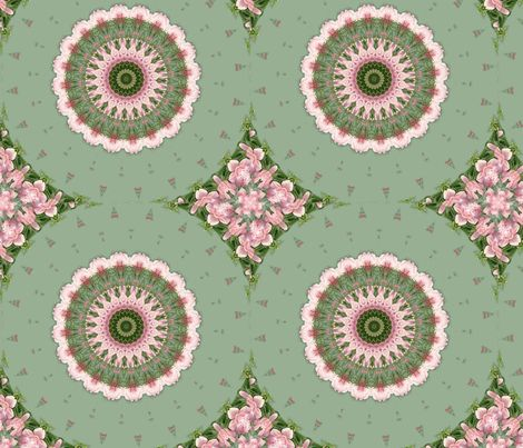 Pink and Green Flower Kaleidoscope fabric designed by Becky Hayes on Spoonflower - custom fabric