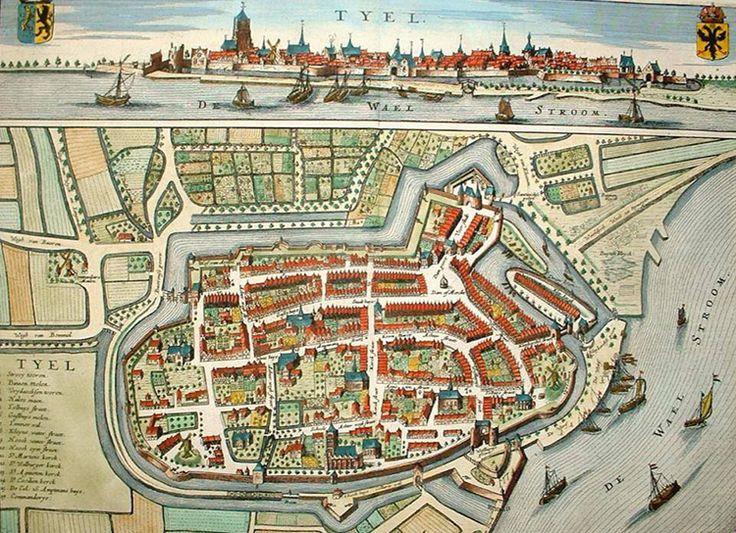 Oud Oog, Tiel, Oude foto, Plattegrond, Tyel, Stad, Stadsplattegrond