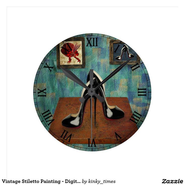 Vintage Stiletto Painting - Digital Art Round Wallclock