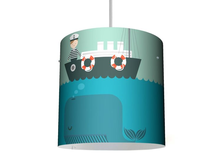 YOURDEA - farbenfrohe Lampenschirme passend für IKEA HEMMA mit Kinder Motiv: Rettet die Wale inklusive Lampenaufhängung: Amazon.de: Küche & Haushalt