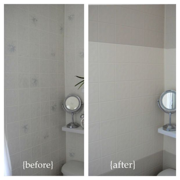Before and after horizontal stripes paint plastic wall for Paint for tile in bathroom