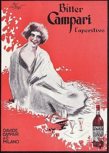 PUBBLICITA' 1924 BITTER CAMPARI MILANO APERITIVO BOSCHINI MODA DONNA SELZ DRINK