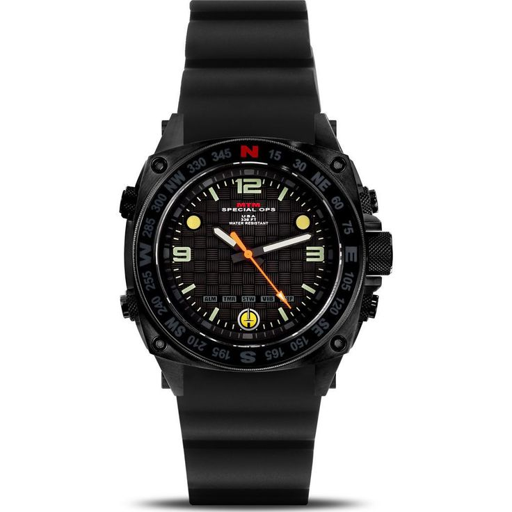 MTM Special Ops Steel Silencer Watch | Black/Black Rubber I