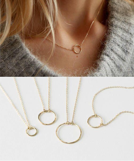 14k Gold fill dainty circle necklace  Karma necklace  Dainty Circle Outline  layering necklace