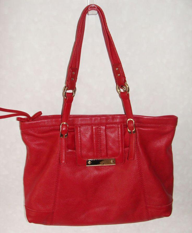Red Cranberry The Sak Large Tote Satchel Style Handbag Leather Women's #TheSak #TotesShoppers