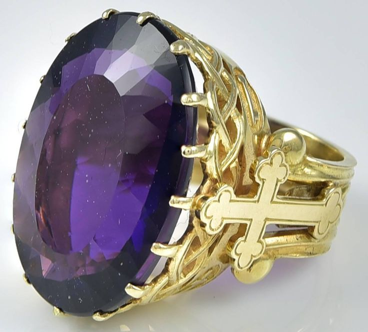 Antique French Amethyst Gold Bishop's Ring 2