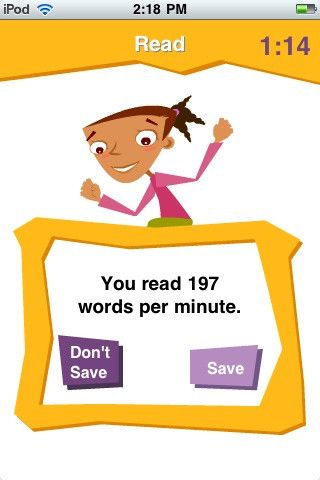 app for practicing fluency- keeps track of words per minute