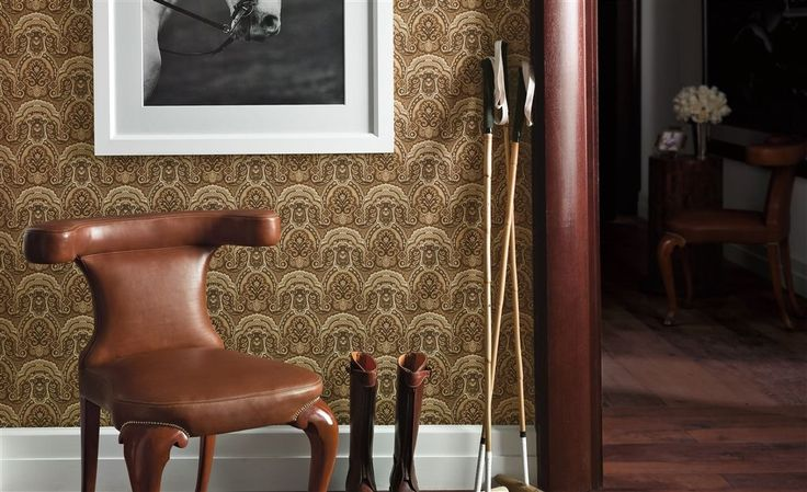 A ralph lauren signature wallpaper collection, rich with a variety of the hallmark themes from stripes to dramatic paisley to floral toile, each offering distinctive palettes from practical to statement whilst remaining true to the character of the distinguished house of lauren. #interior #wallpaper #country #leather