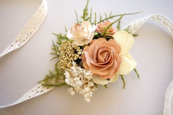 Blush Wrist Corsage Prom Corsage Boho by MoonflowerNatureArt