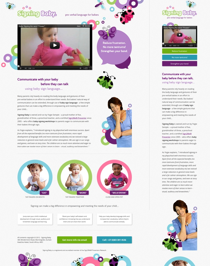 Responsive one-page website design for Signing Baby.