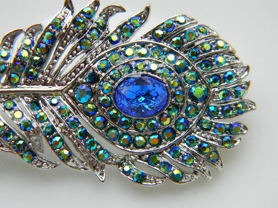 Green and Blue AB Rhinestone Peacock Feather Hair Clip