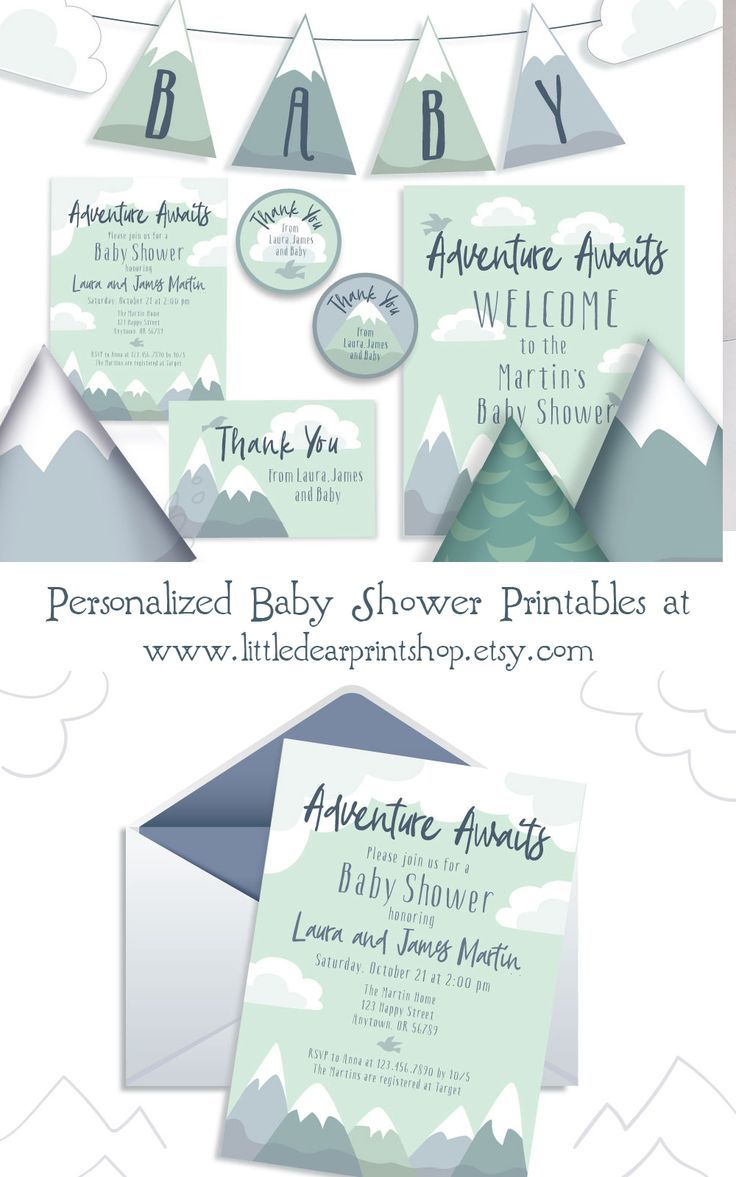 Personalized Adventure Awaits Mountain Baby Shower custom Invites, Garland, Thank You and more, cust