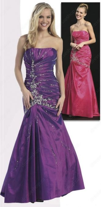 #Purple Beading Prom Dress