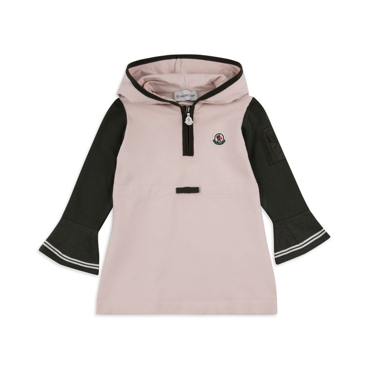 MONCLER Baby Girls Hooded Jersey Dress - Pink Baby girls dress • Soft stretchy cotton • Half zip placket • Sleeve pocket detail • Grosgrain bow • Logo embroidery • Material: 95% Cotton, 5% Elastane
