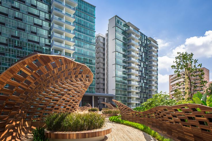 Built by DP Architects in Singapore, Singapore with date 2014. Images by Marc Tey Photography. The Minton, completed in 2014, comprises ten 15-storey and eight 17-storey apartment blocks, with a total of 1,145 un...