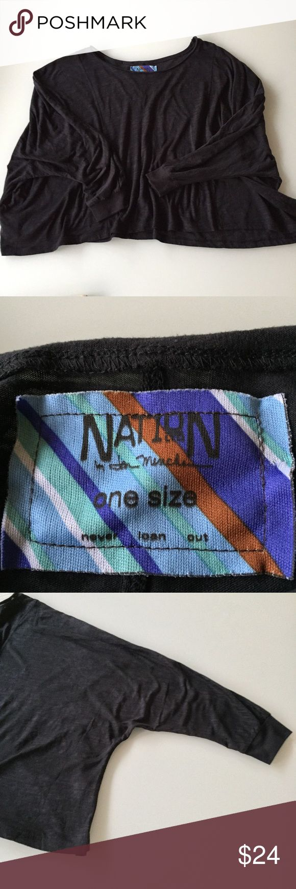 NATION LTD by Jen Menchaca/Revolve brand NATION LTD t shirt / 3/4 sleeve / super comfy / cropped / one size / oversized  / fabric is a soft tissue cotton / Nation LTD Tops Crop Tops