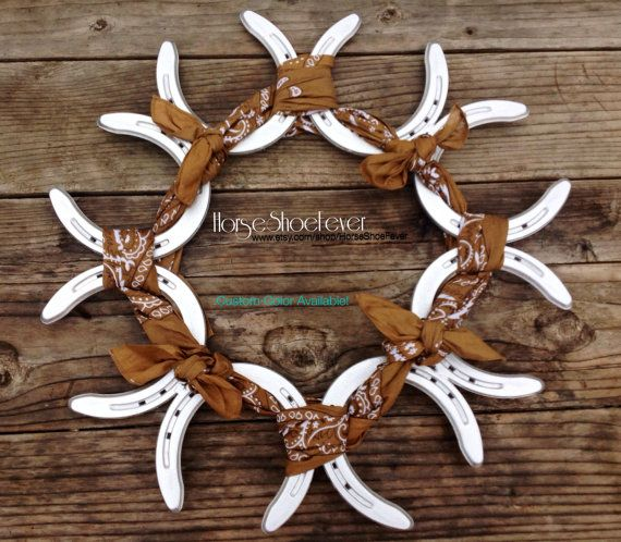© Rustic Horseshoe & Bandana Wreath.  HorseShoeFever. Custom, Western Home Decor, Fall, Horseshoes, Wedding, Country, Rustic, Modern, Farm, Ranch, Cowgirl, Cowboy, Horse, Rodeo, Wall Art, Birthday, Christmas, Gift, Present, Cabin, Horses, Equestrian, Toddler, Baby, Design, Jockey, Derby