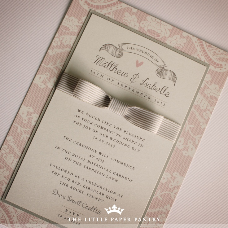 85 best wedding invitations images on pinterest wedding stationery mocha mousse flat lace invitation with a double mount and pinstripe ribbon bow solutioingenieria Choice Image