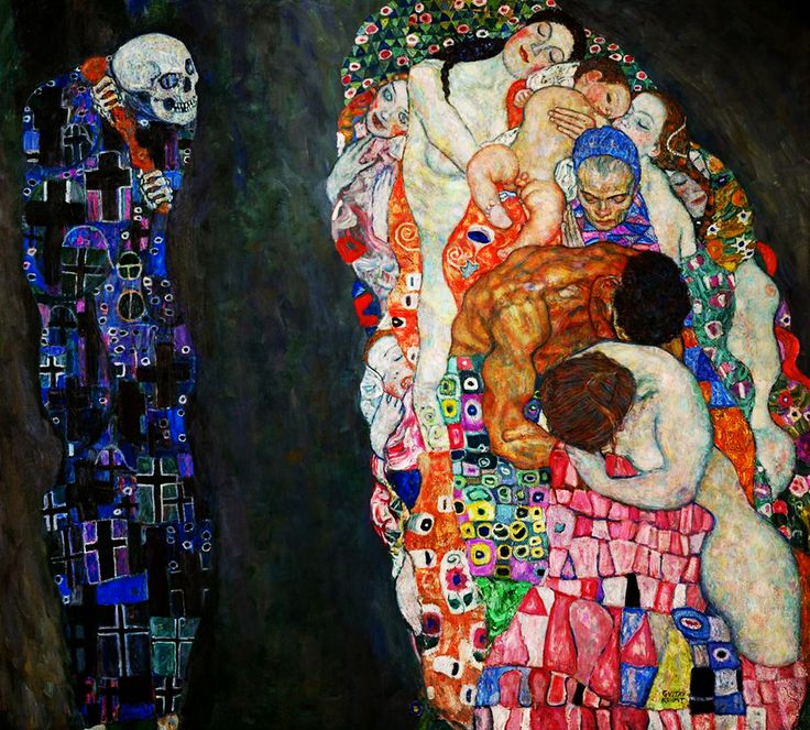 Gustav Klimt - Death and Life.  Start Date: 1908 Completion Date:1916 Style: Art Nouveau (Modern) Period: Golden phase