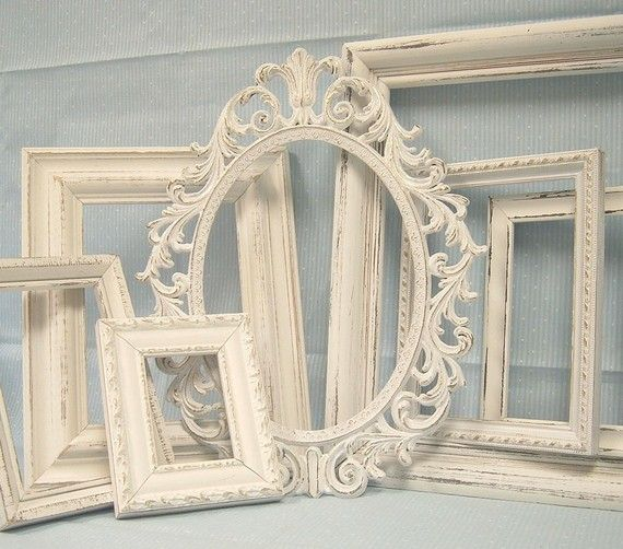 Shabby Chic Picture Frames White Ornate Collection French Victorian Gallery Grouping Distressed Vintage B