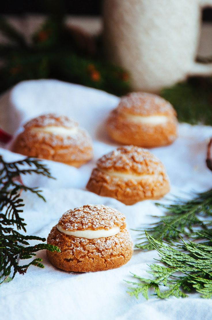 Gingerbread Cream Puffs with White Chocolate Chantilly