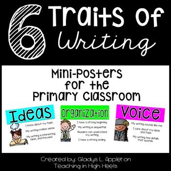 Writing Posters NEWLY UPDATED {6-15-15} It now included the bright color version as well as a black and white version for easy printing! This set of mini-posters for the primary classroom will help your students focus on the 6 Traits of Writing. The writing process may be complex at times...but these posters will help!