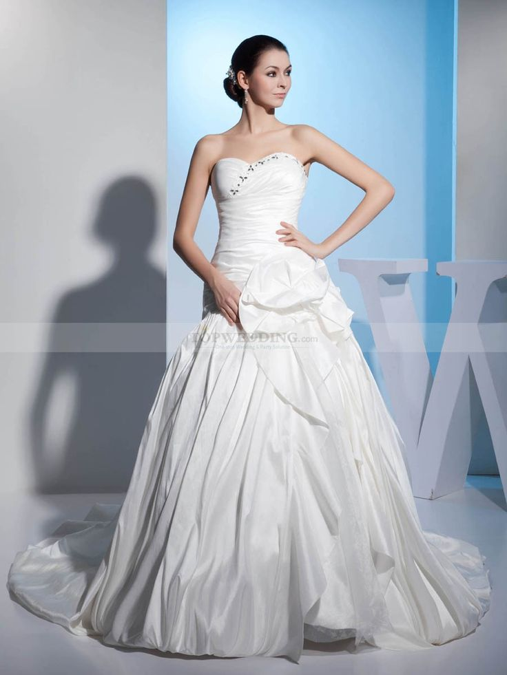 Strapless Taffeta Wedding Dress with Oversized Floral Decor