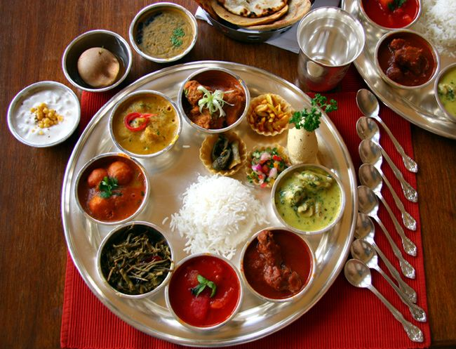 "the traditional indian ""thali"" , a meal fit for a king :D ..."