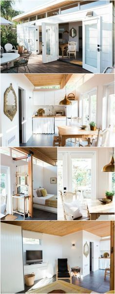 Beautiful and Minimalistic 364 Square Feet Tiny House in California Built for Dreamy Guest House - Rebecca Froelich of San Rafael, California has always dreamed of building the perfect guest house in the back of her property. After discovering the Modern Shed company, they designed their ideal 364 square foot tiny house and then filled it with beauty. From the stark white exterior to the warm and cozy interior, we love everything about this tiny guest house! #tinyhouseinteriordesign