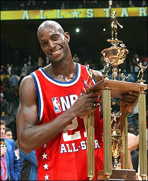 Kevin Garnett of the Minnesota Timberwolves was named MVP in a West 155-145 double overtime victory over the East at the 2003 NBA All-Star Game from Atlanta, GA