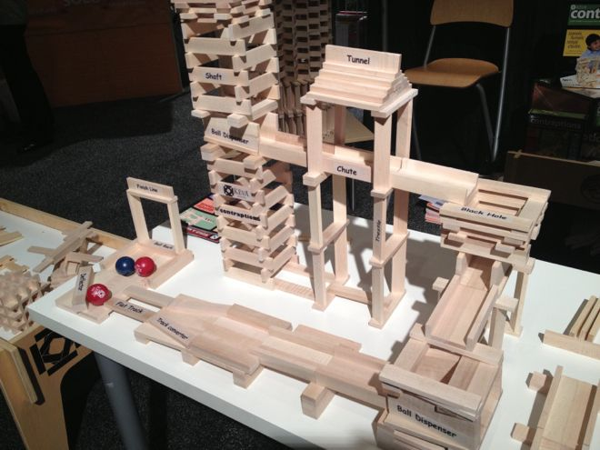 There were lots of marble runs at Toy Fair, but I loved the contraption set by Keva Planks. Its open-ended building promotes exploration of physics.