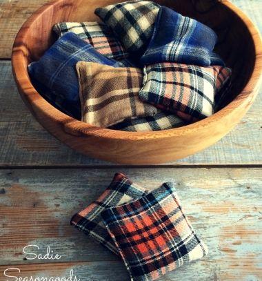 Flannel scrap reusable hand warmers // Kézmelegítő rizspárnák flanel ingekből // Mindy - craft & DIY tutorial collection