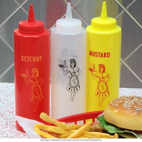 Squeeze bottles set of 3 - Red, Yellow, White Plastic Bottles, perfect for entertaining at your next BBQ or Party! There's bottle for ketchup, mustard and another of your favorite condiments. Each Measures 8.5 inches tall