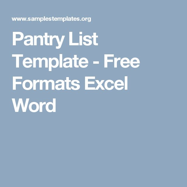 Pantry List Template - Free Formats Excel Word