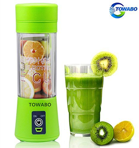 Portable multifunctional fruit blender Material: food grade AS, BPA free. Environmentally friendly. Blade Material: 304 Stainless Steel Carry hand Material: Silicone Capacity: 350ml Weight: 381g Color: Blue, Green, Pink Size: 75*75*232mm Battery Type: 2000mAh 3.7V Package contents: 1x mini... - http://kitchen-dining.bestselleroutlet.net/product-review-for-towabo-usb-juicer-cup-fruit-mixing-machine-portable-personal-size-eletric-rechargeable-mixer-blender-water-bottle-380ml-w