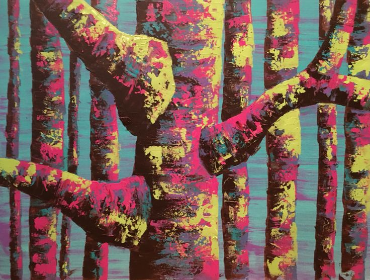 Colourful tree painting by Anna Gibbs