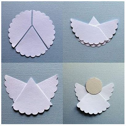 Simple Paper Angel made from a coffee filter or paper doily. Christmas Crafts for Kids
